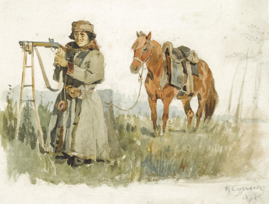 """Vasily Ivanovich Surikov. A sketch for the picture """"Menshikov in Berezov"""""""