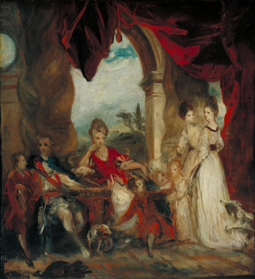 Joshua Reynolds. Portrait of the 4th Duke of Marlborough with the family. Sketch