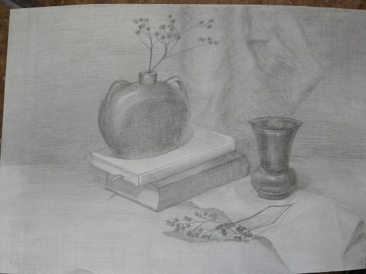 Julia Sergeevna Bochkareva. Still life with vases and books