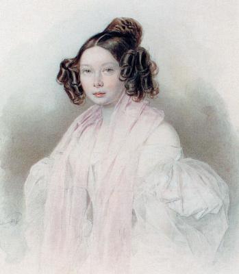 Peter Fedorovich Sokolov. Countess Yuliya Pavlovna Tiesenhausen. 1835