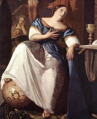 Jan Vermeer. Allegory of the Catholic faith. Fragment