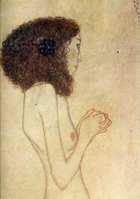 Густав Климт. Бетховен Фриз, Слабость (Умоляющая девушка). Фрагмент