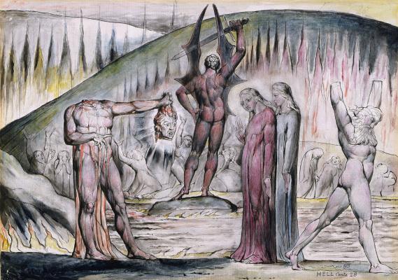 """William Blake. Split and ruin: Mosca de Lamberti and Bertrand de born. Illustrations for """"the divine Comedy"""""""