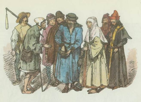 "Jan Matejko. Polish peasants 1447 - 1492. ""Polish clothing, 1200 - 1795"""