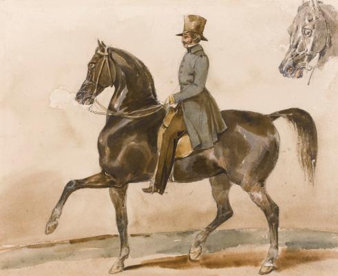 Théodore Géricault. Portrait of a gentleman on a horse