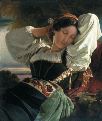 Franz Xaver Winterhalter. Girl with Saby mountains