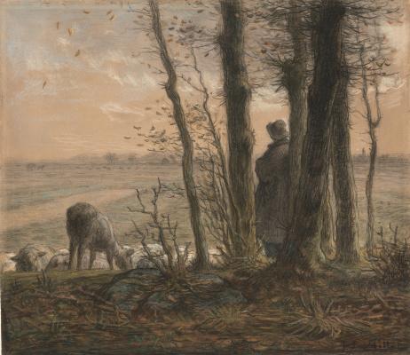 Jean-François Millet. Falling leaves