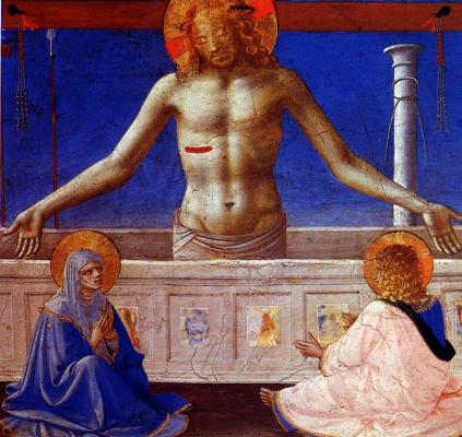 """Fra Beato Angelico. Husband of Sorrow. Preamble of the altar of San Domenico """"Coronation of the Virgin"""""""