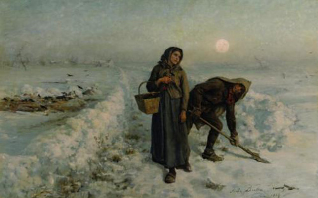 Jules Breton. On the road in the winter