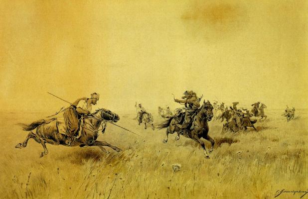 Сергей Иванович Васильковский. Бой запорожцев с татарами . 1892  сепия.