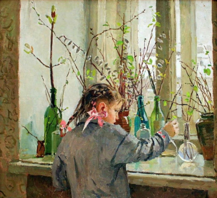 Tetyana Yablonska. Spring on the window