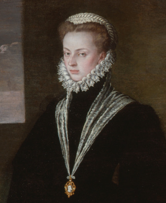 Sofonisba Angisola. Portrait of Juana of Austria with a pupil. Fragment