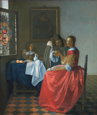 Jan Vermeer. Girl with a glass of wine
