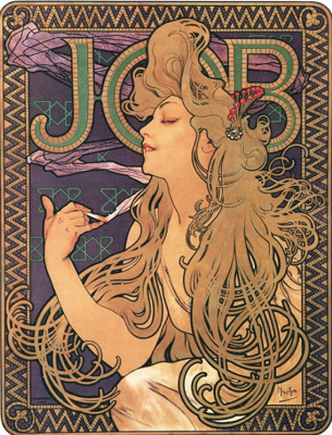 "Alphonse Mucha. The ""job"". Advertising tissue paper. France"