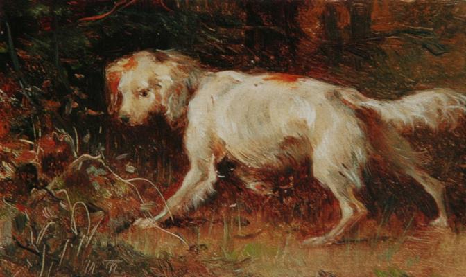 "Illarion Mikhailovich Pryanishnikov. «Dog. Etude"" the First half of the 1880s 10х16,4"