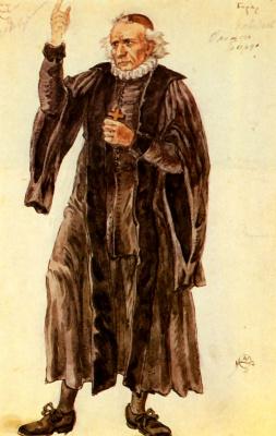 "Mstislav Valerianovich Dobuzhinsky. Dr. Beard. Costume design for a drama of A. V. Lunacharsky ""Oliver Cromwell"""