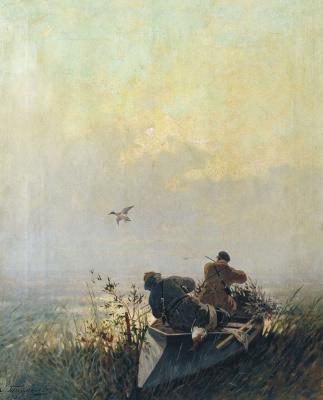 Eugene Alexandrovich Tikhmenev. Image hunting wild ducks. 1905