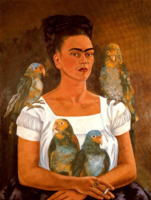 Frida Kahlo. Me and my parrots