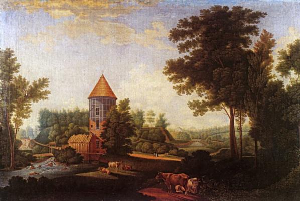 Семен Федорович Щедрин. Мельница и башня Пиль в Павловске