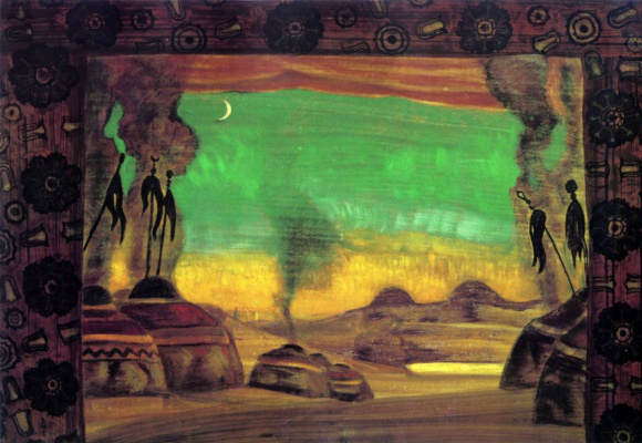 "Nicholas Roerich. The Polovtsian camp. A sketch of the scenery for the ballet ""Polovtsian dances"""