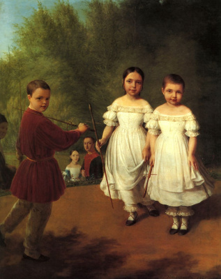 Alexey Gavrilovich Venetsianov. Portrait of children Panaeva with the nanny