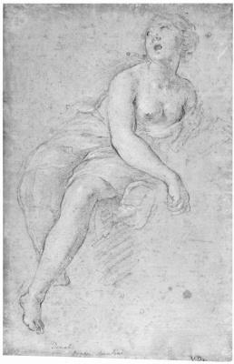 Винченцо Дандини. Полуобнаженная женская фигура в облаках