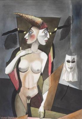 """Виктор Михайлович Шмохин. Из серии: Театр и маски. Девушка смотрящая     в  разные стороны."""""""
