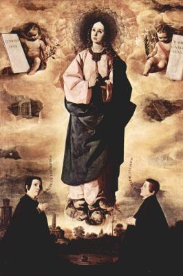Франсиско де Сурбаран. Непорочное зачатие с двумя священниками внизу