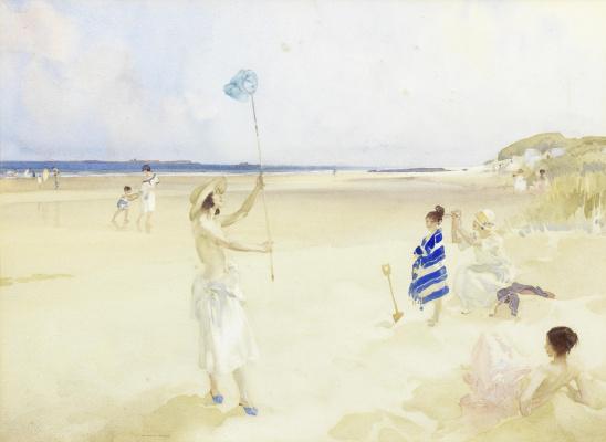 William Russell Flint 1880 - 1969 Scotland. Butterfly Beach.