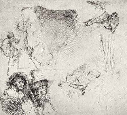 Рембрандт Харменс ван Рейн. Фигуры нищих и женщина в постели (Саския во время болезни)