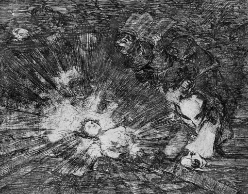 "Francisco Goya. The series ""disasters of war"", page 80: Rise again?"