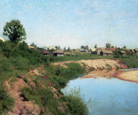 Isaac Levitan. Village on the banks of the river