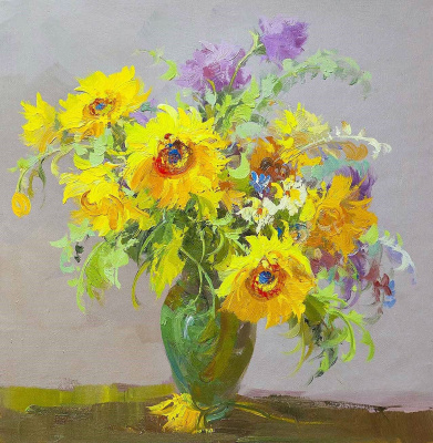 (no name). Bouquet with sunflowers N1