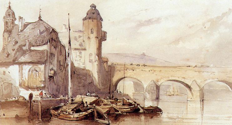 Йоханнес Босбум. Речной пейзаж с мостом