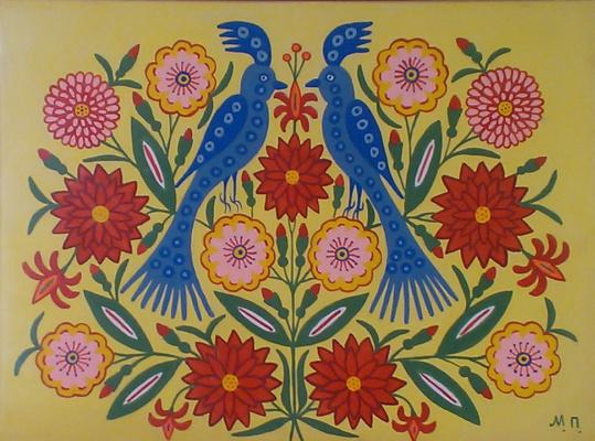 Мария Авксентьевна Примаченко. Дві синички сидять у квіточках
