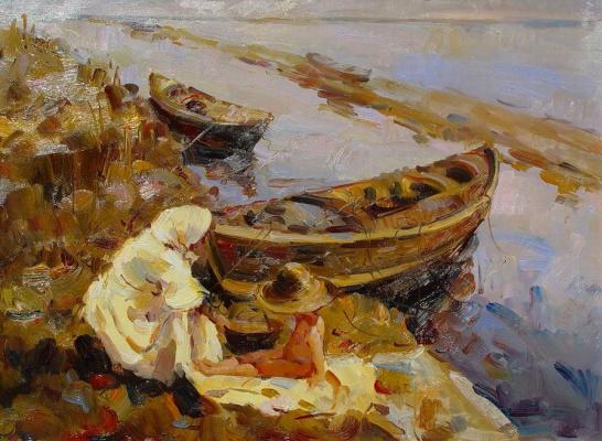 Виндфелдт. Женщина с ребенком у лодки
