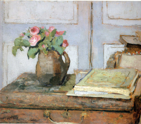 Jean Edouard Vuillard. A bouquet of flowers and art supplies