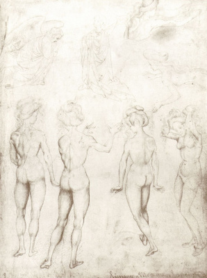 Antonio Pisanello. Sheet of sketches: Nude and Mary of the Annunciation
