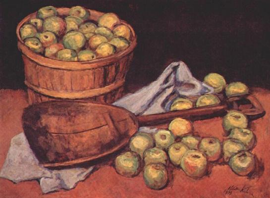 Walt Kun. Green apples with a shovel