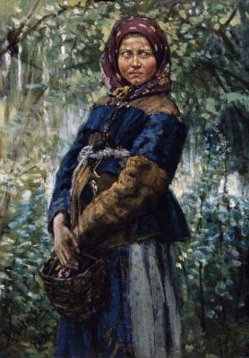 Константин Аполлонович Савицкий. Крестьянка с корзинкой в лесу