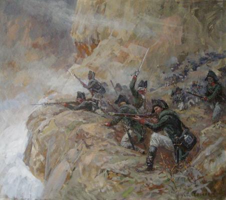 Aleksandr Chagadaev. Russian huntsmen in the Alps