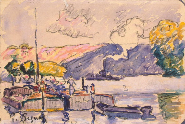 Paul Signac. Two barges boat and tugboat in Samois
