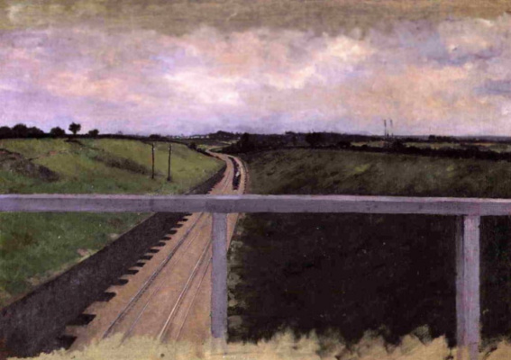 Gustave Caillebotte. Landscape with railway tracks