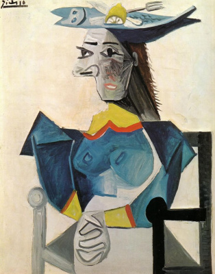 Pablo Picasso. Woman in hat in fish