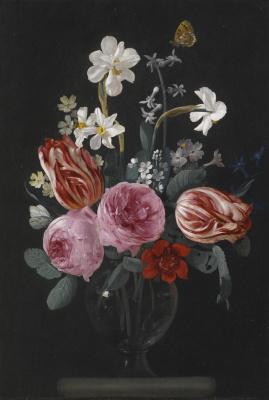 Карстиан Люикс. Натюрморт с тюльпанами, розами, нарциссами и другими цветами с бабочкой в стеклянной вазе на каменном выступе