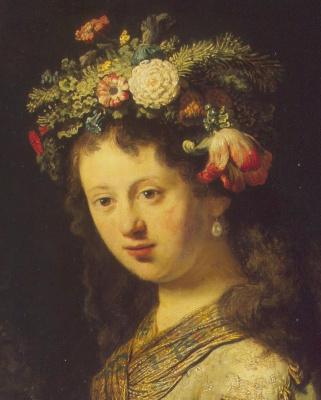 Rembrandt Harmenszoon van Rijn. Flora, fragment (portrait of Saskia)
