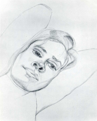 Lucien Freud. The head of a woman
