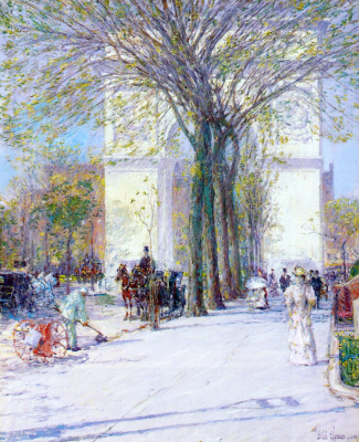 Childe Hassam. Washington arch in spring