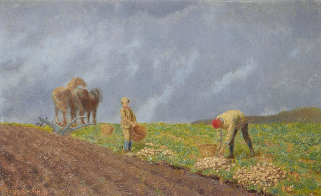 Arthur Hughes. Potato harvest