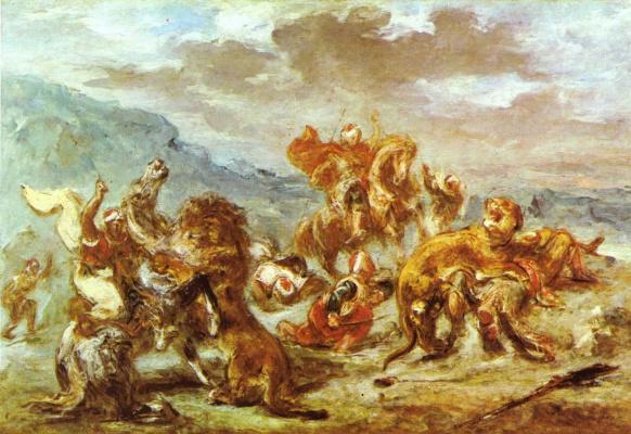 Эжен Делакруа. Охота на львов II